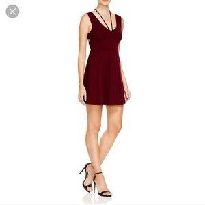 Mink Pink dark wine dress with open back